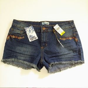BLUE CRUSH Denim Shorts with Embroidery Details